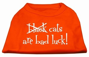 Black Cats are Bad Luck Screen Print Shirt Orange Sm (10)